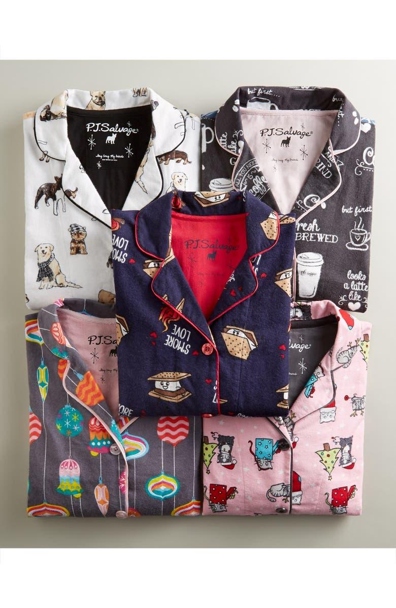 PJ SALVAGE Print Flannel Pajamas, Main, color, 061