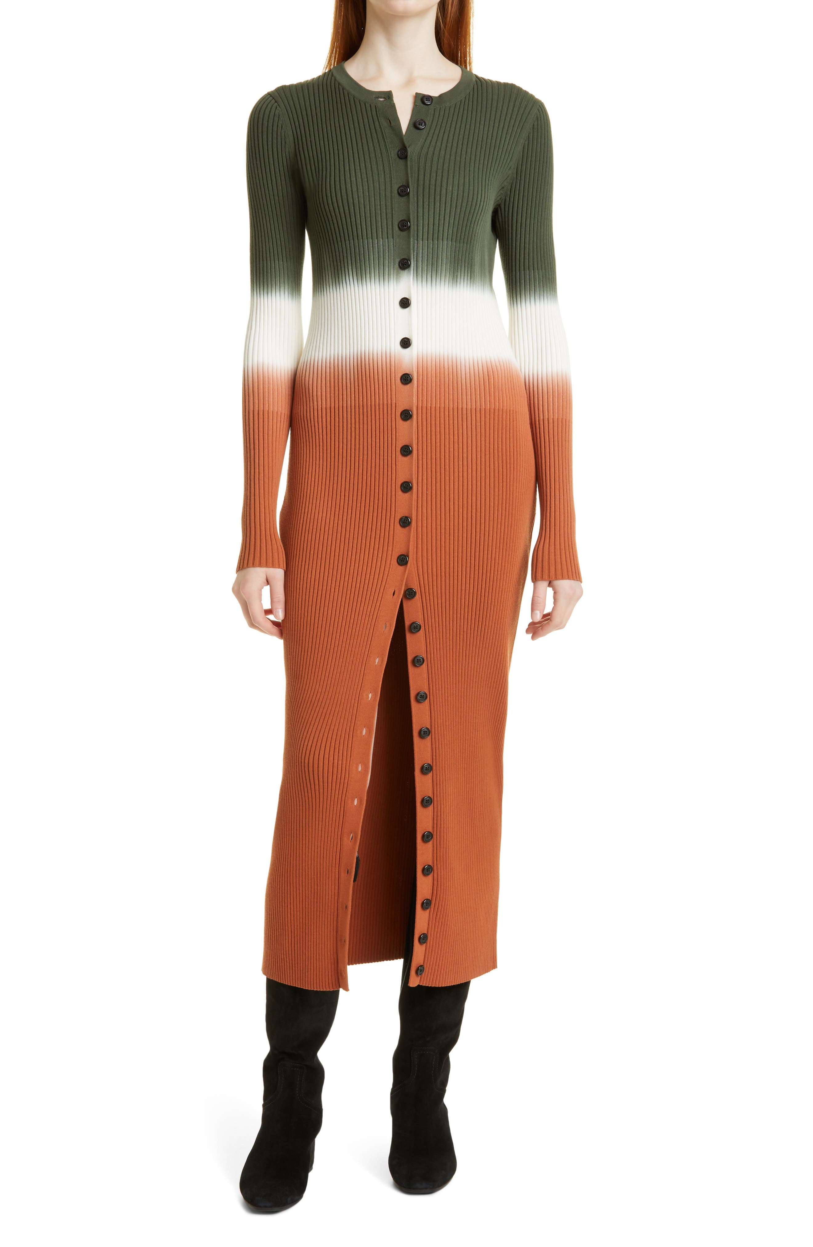 Tianna Ombre Colorblock Long Sleeve Cotton Blend Sweater Dress