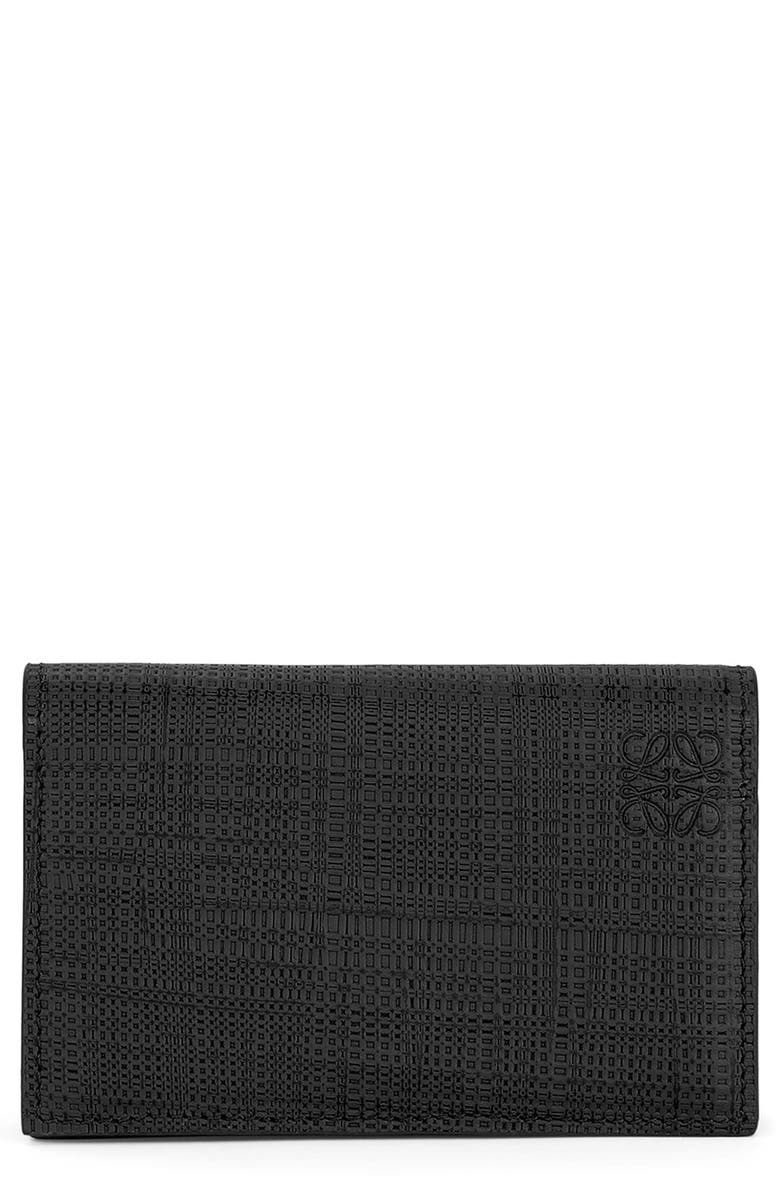 LOEWE Textured Calfskin Leather Business Card Holder, Main, color, 001