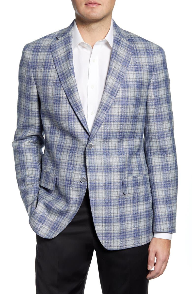 HART SCHAFFNER MARX Classic Fit Plaid Wool Blend Sport Coat, Main, color, LIGHT GREY/ BLUE