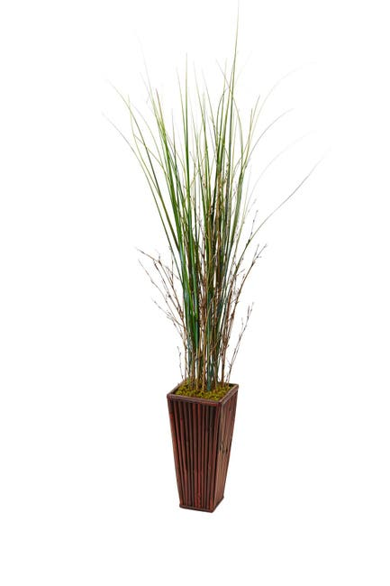 Image of NEARLY NATURAL Bamboo Artificial Grass in Bamboo Planter