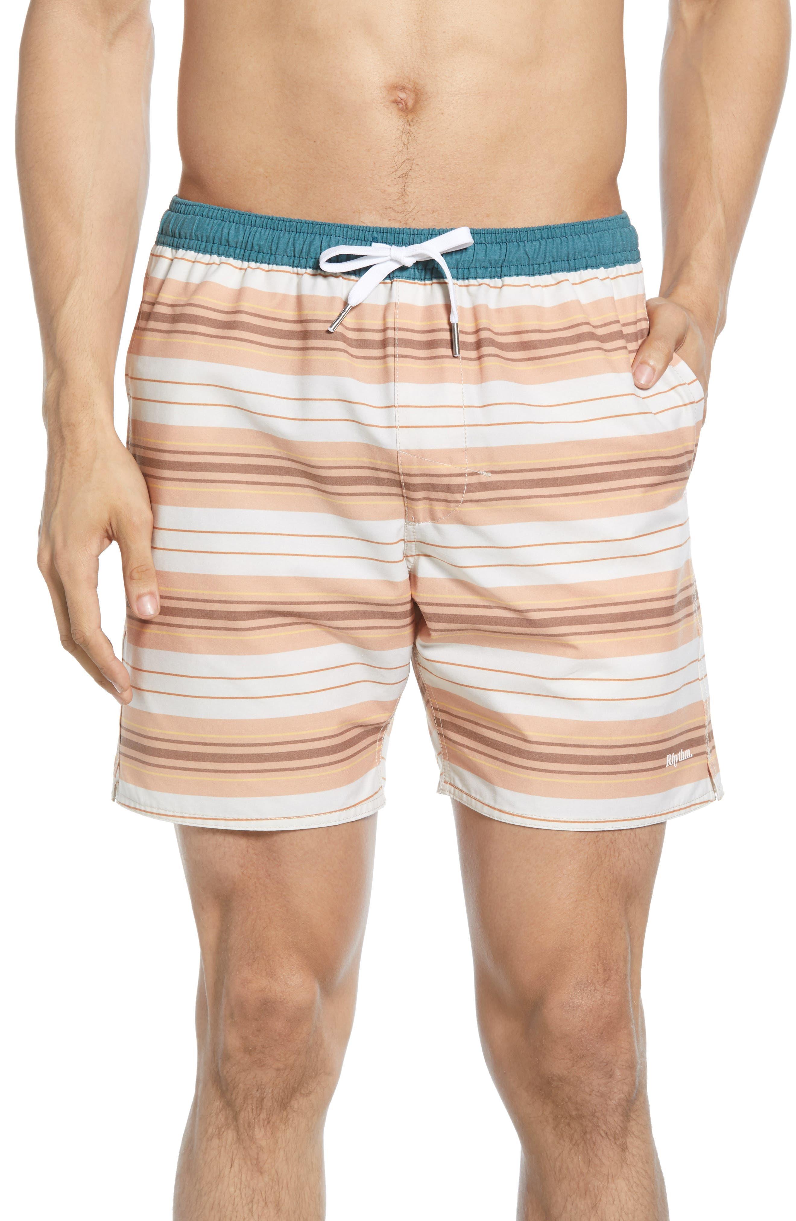 Rhythm Coastal Stripe Swim Trunks, Orange