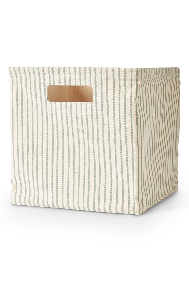 PEHR Stripes Away Medium Canvas Cube, Main, color, SEA