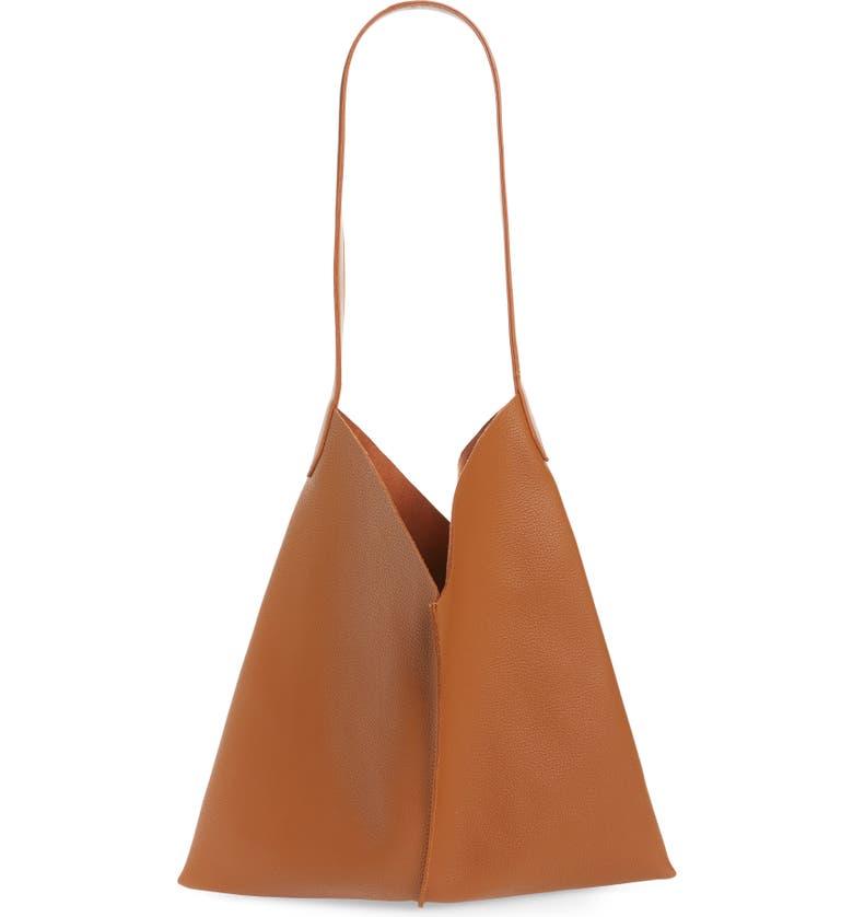 BP. Center Seam Faux Leather Tote, Main, color, TAN SUGAR