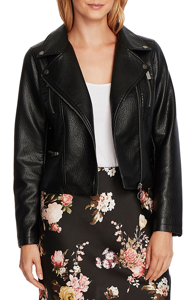 VINCE CAMUTO Textured Faux Leather Moto Jacket, Main, color, RICH BLACK