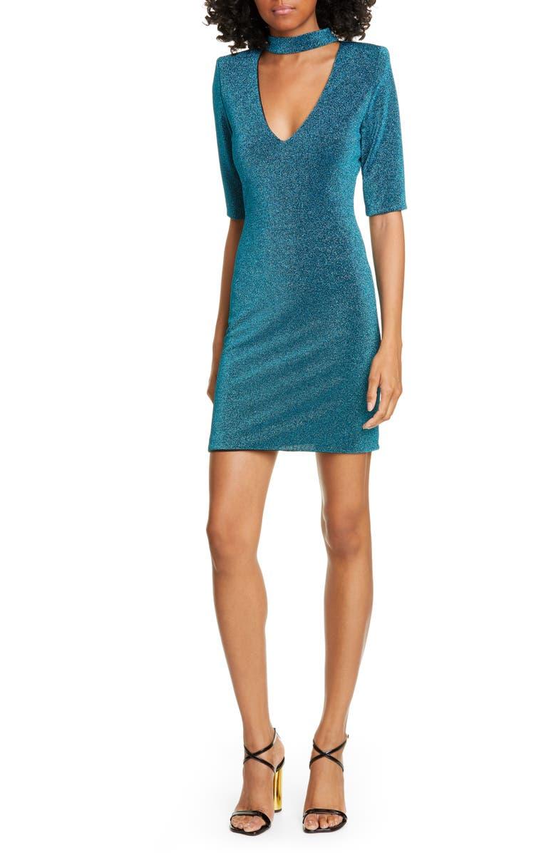 ALICE + OLIVIA Inka Plunge Keyhole Dress, Main, color, DARK TURQUOISE