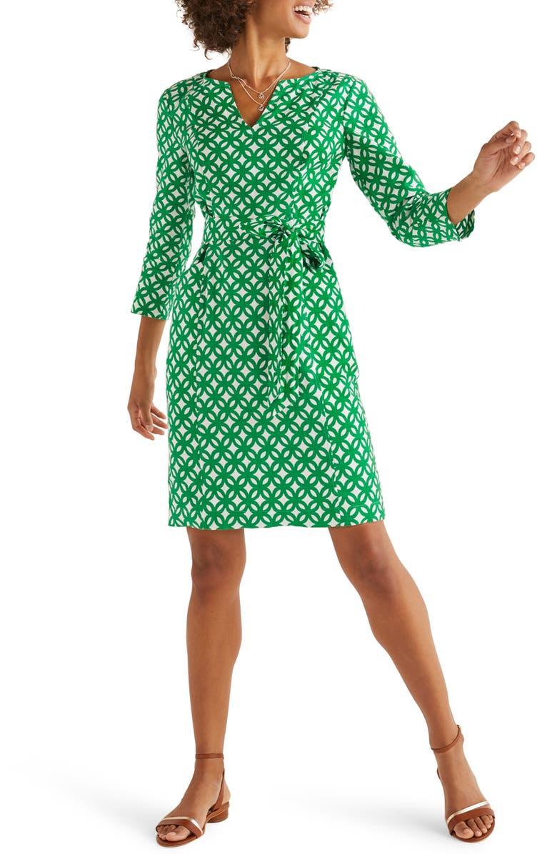 BODEN Kelsey Belted Linen Dress, Main, color, RICH EMERALD/ LINK