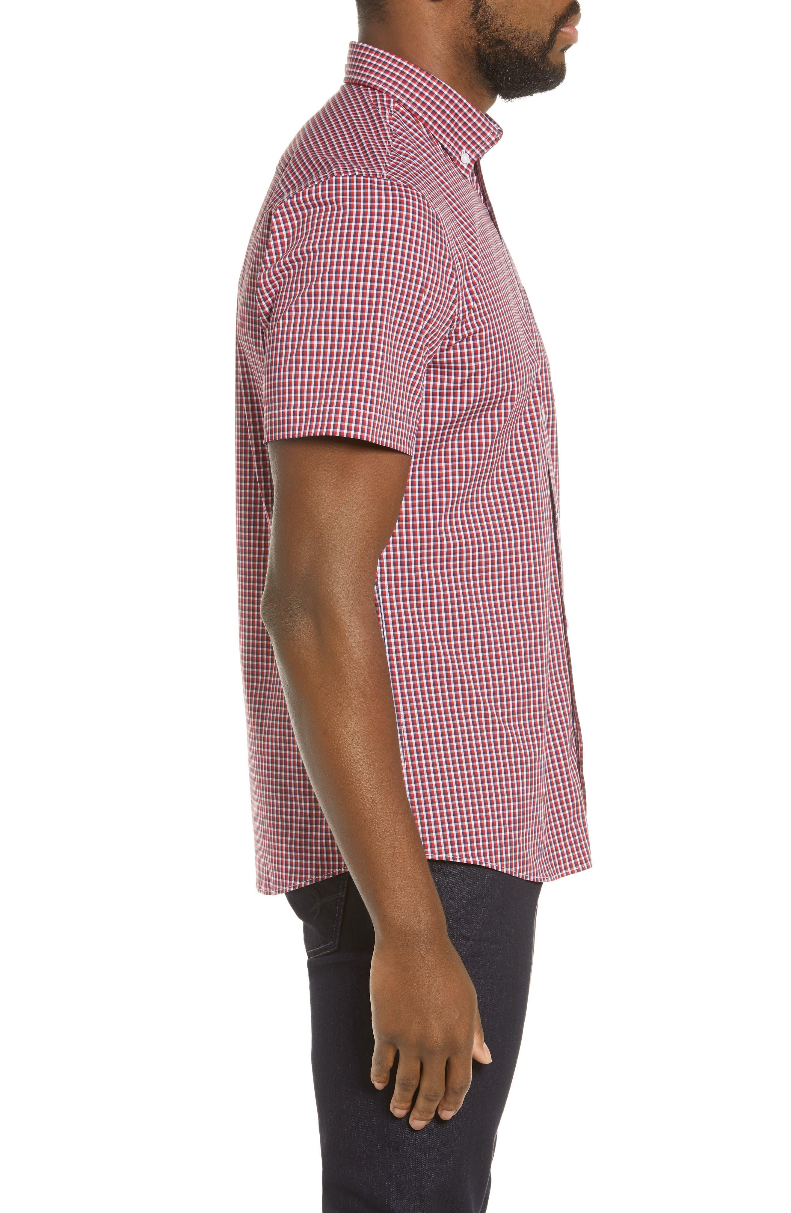 ,                             Tech-Smart Regular Fit Check Sport Shirt,                             Alternate thumbnail 4, color,                             RED POMPEII NAVY CHECK
