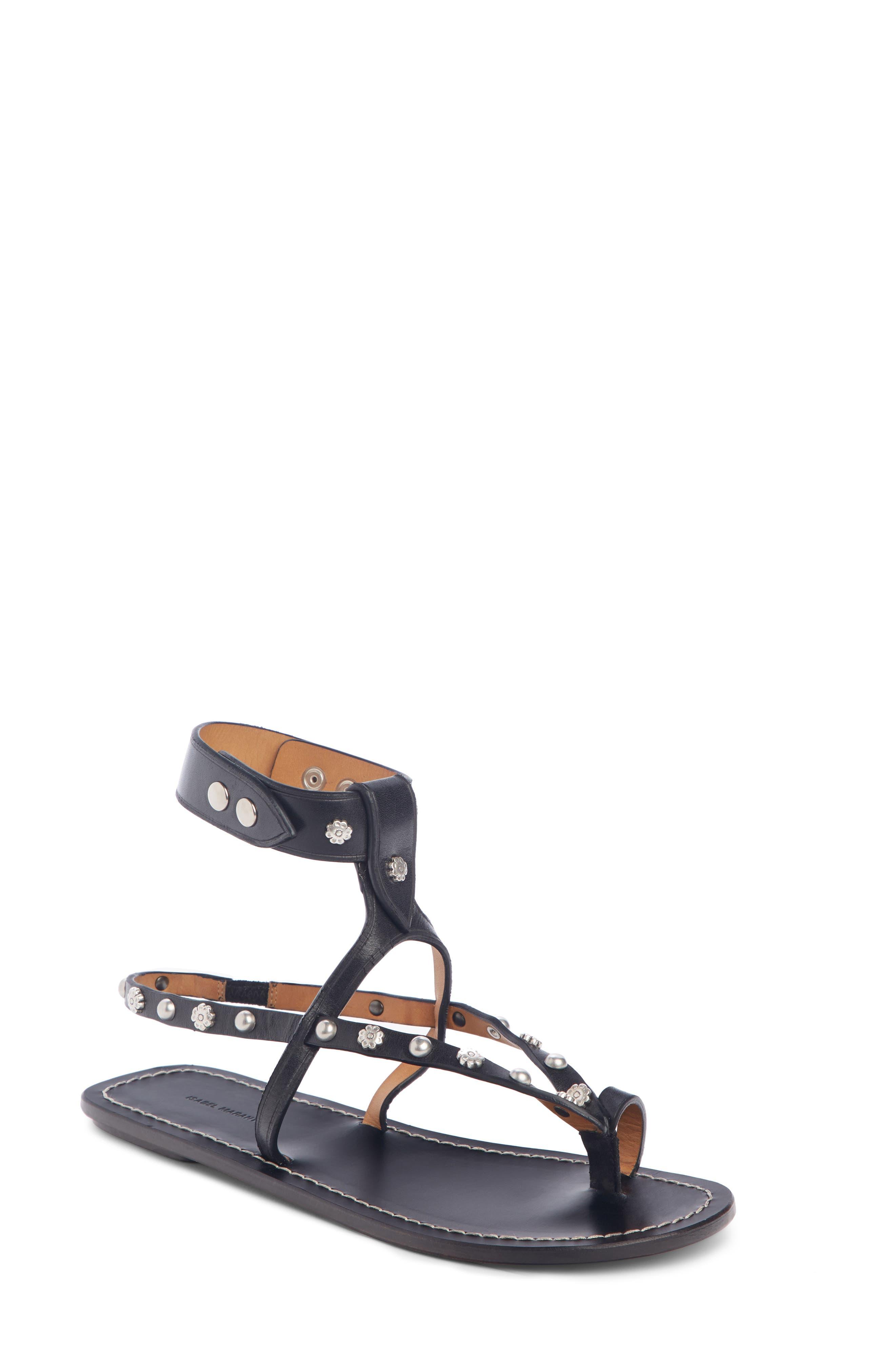 ,                             Engo Flower Studded Gladiator Sandal,                             Main thumbnail 1, color,                             001