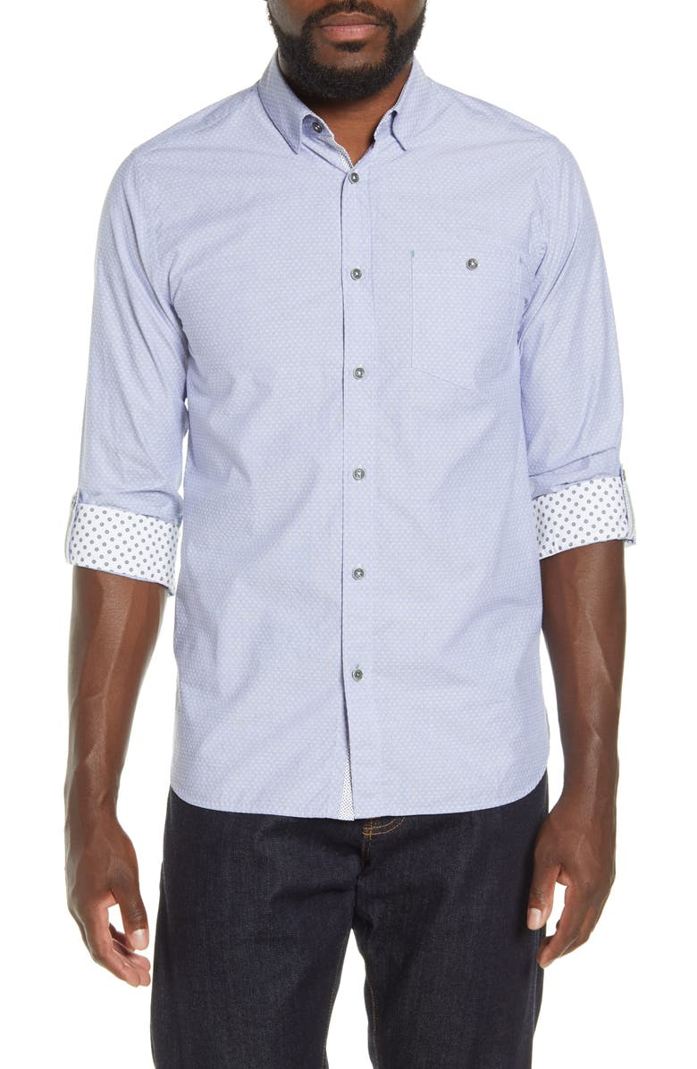 TED BAKER LONDON Slim Fit Dobby Button-Up Shirt, Main, color, BLUE