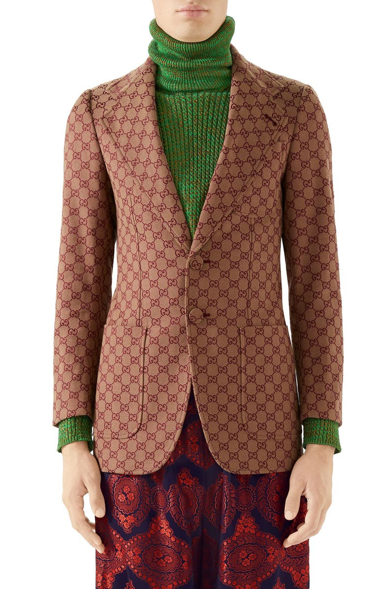 GUCCI GG Cotton Blend Blazer, Main, color, BEIGE BORDEAUX