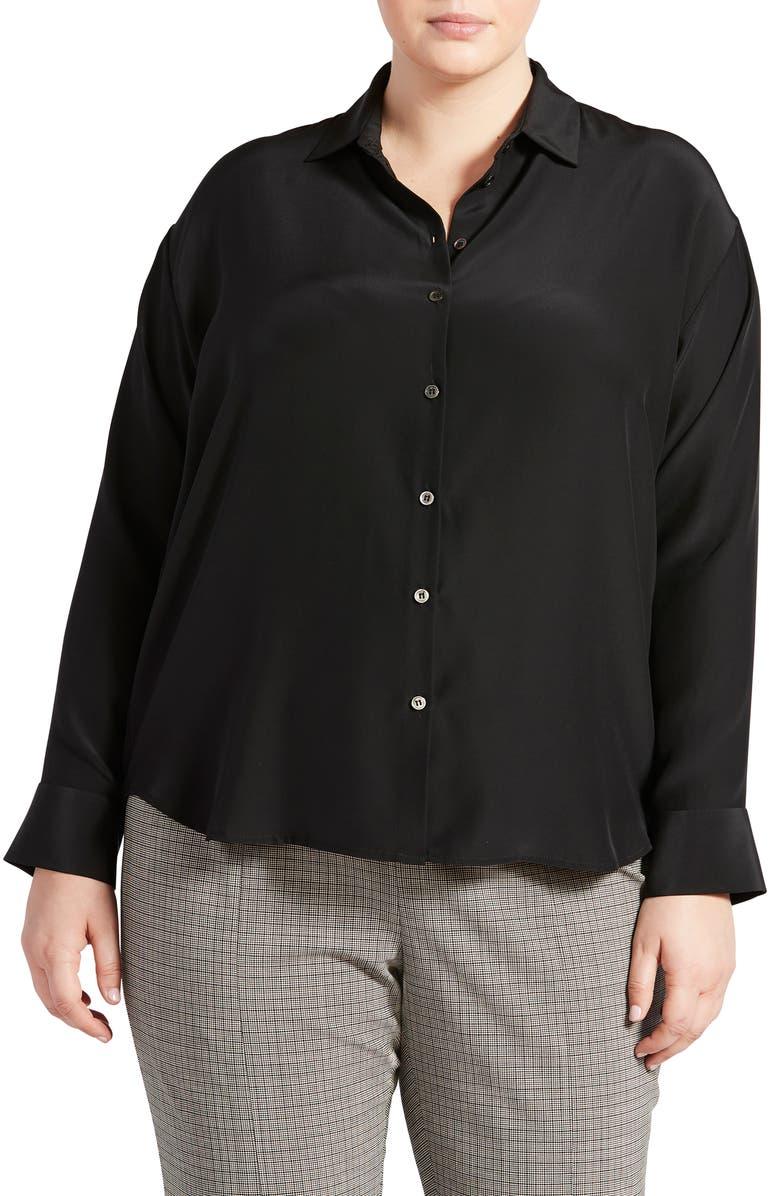 PARI PASSU Button-Up Silk Shirt, Main, color, BLACK
