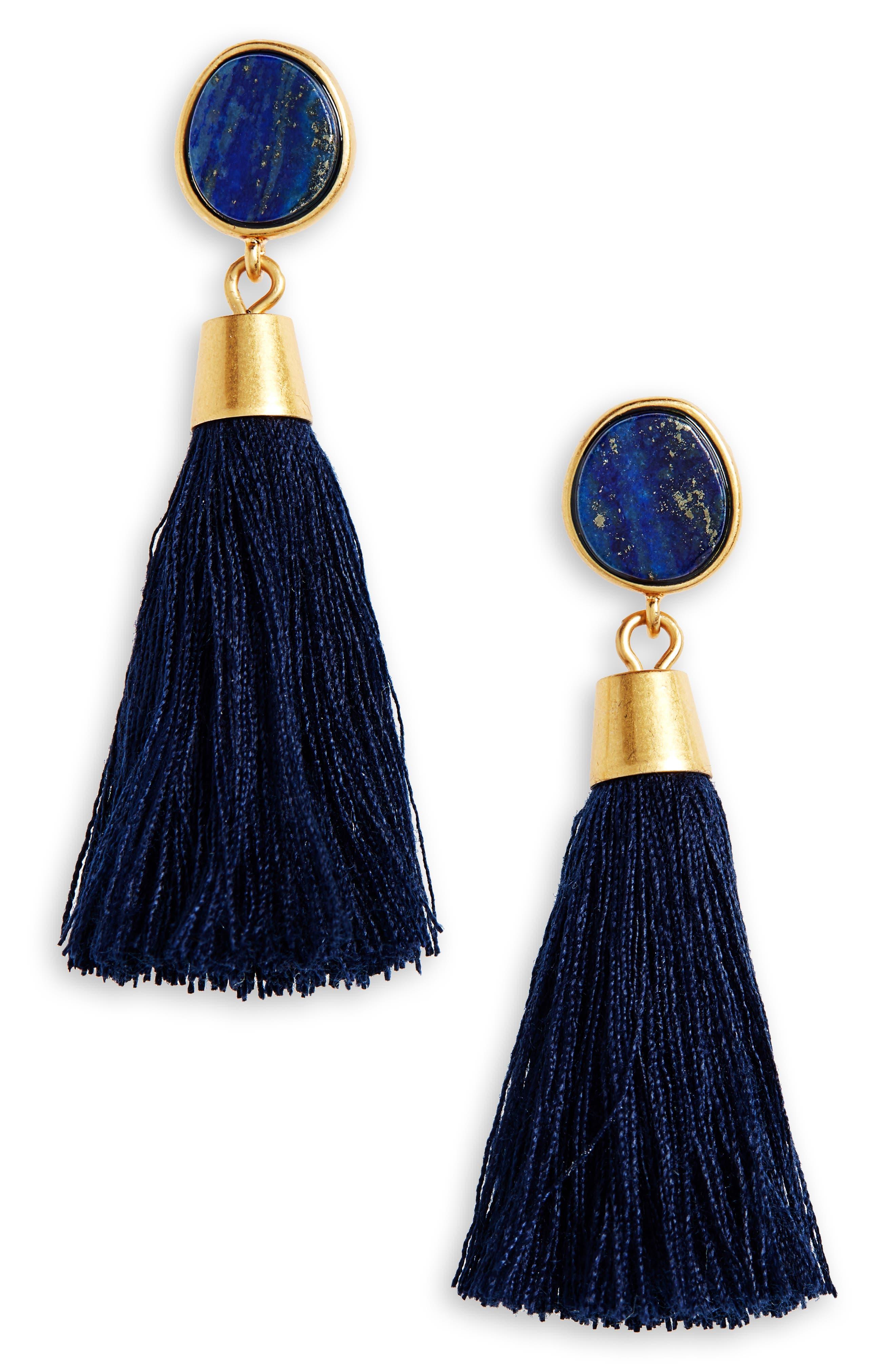 60s -70s Jewelry – Necklaces, Earrings, Rings, Bracelets Womens Madewell Stone Tassel Earrings $19.99 AT vintagedancer.com