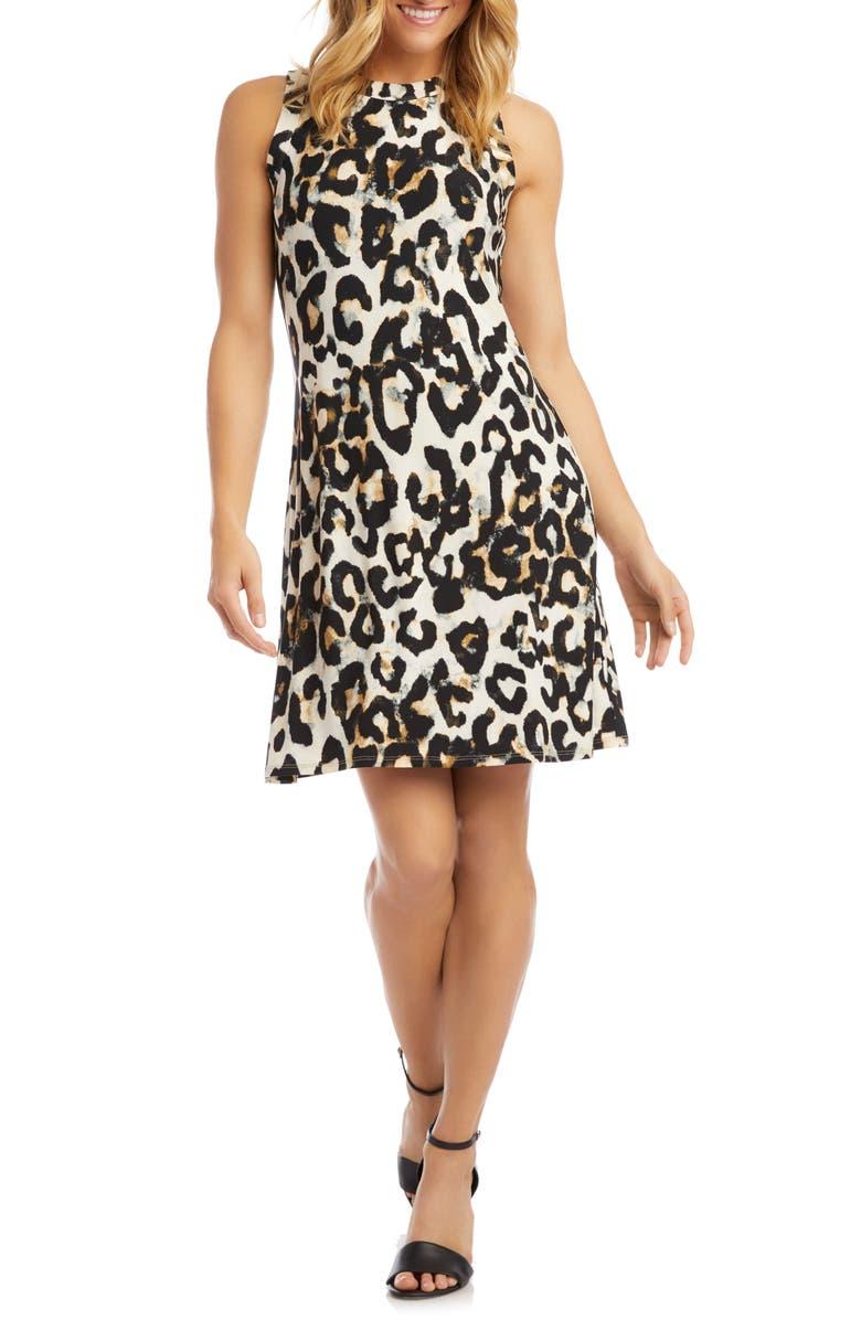 KAREN KANE Leopard Print Sleeveless A-Line Dress, Main, color, CHEETAH