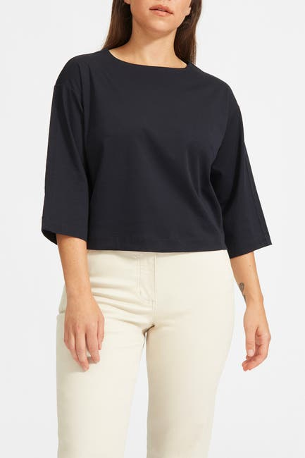 Image of EVERLANE The Luxe Cotton Crop T-Shirt