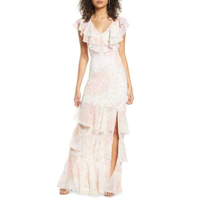 Wayf The Campbell Ruffle Tiered Column Gown, Pink