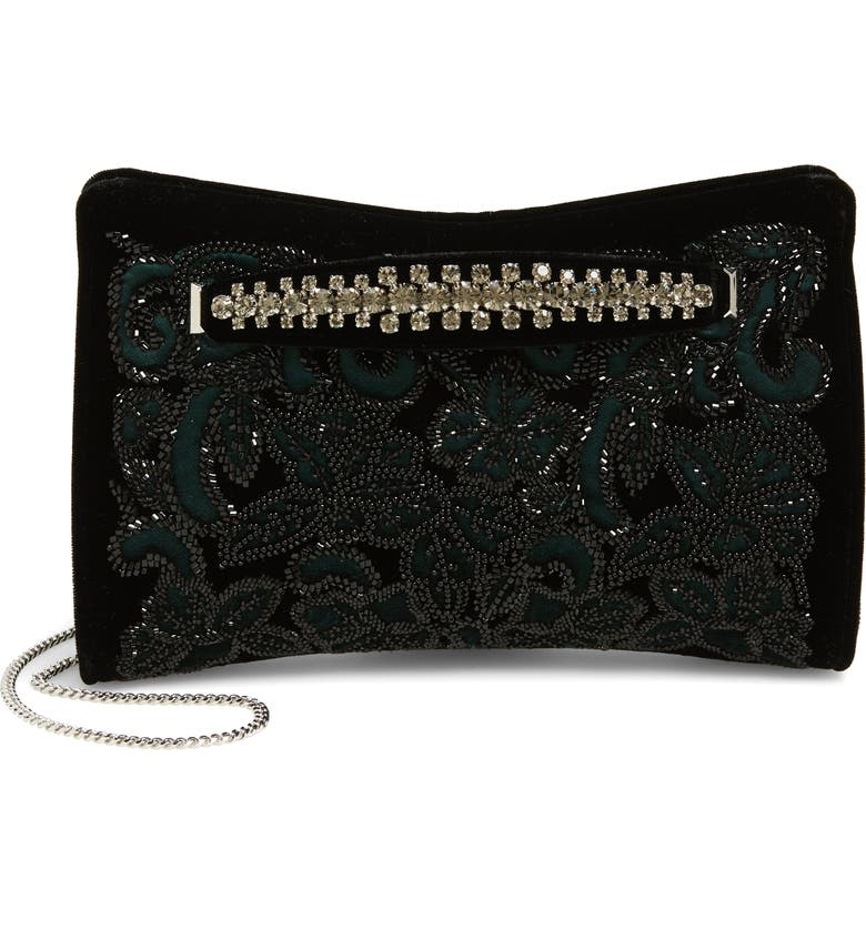 JIMMY CHOO Floral Beaded Velvet Clutch, Main, color, DARK GREEN/ BLACK