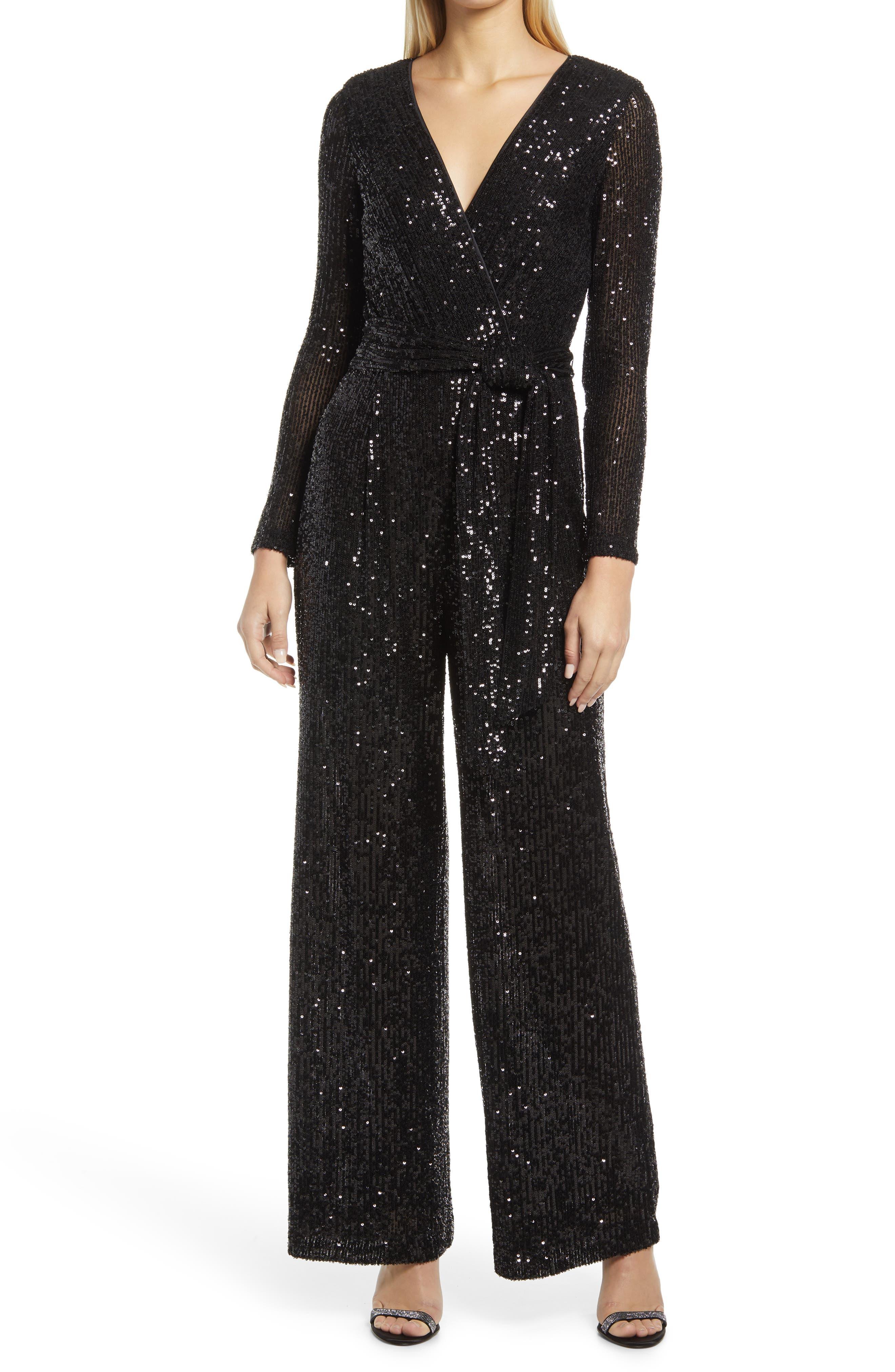 Long Sleeve Sequin Jumpsuit