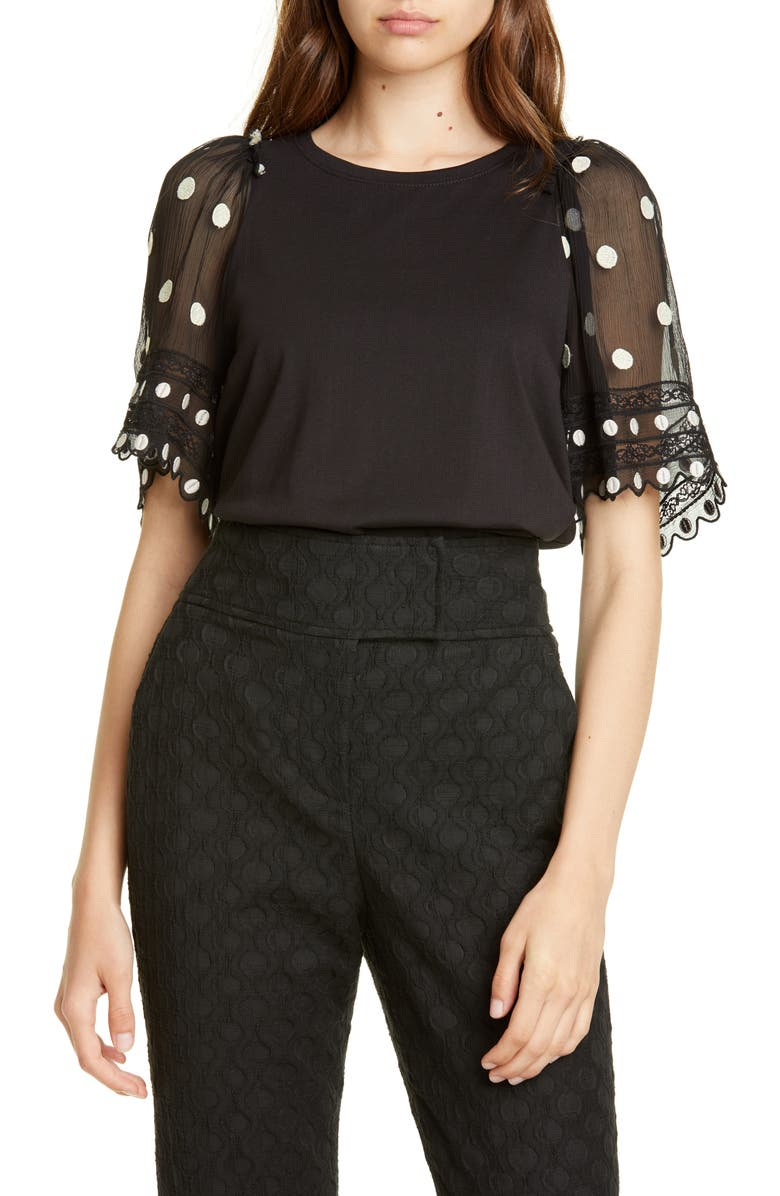 REBECCA TAYLOR Dot Embroidered Sleeve Knit Top, Main, color, BLACK