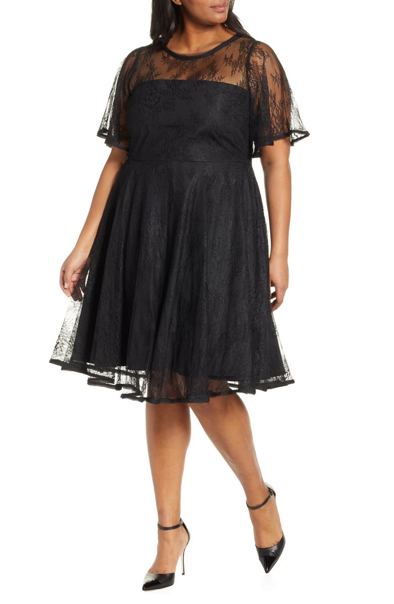 ELOQUII Jason Wu x ELOQUII Fit & Flare Lace Dress, Main, color, 001