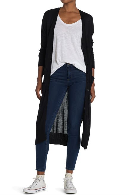 Image of Ceny V-Neck Button Front Long Cardigan Duster