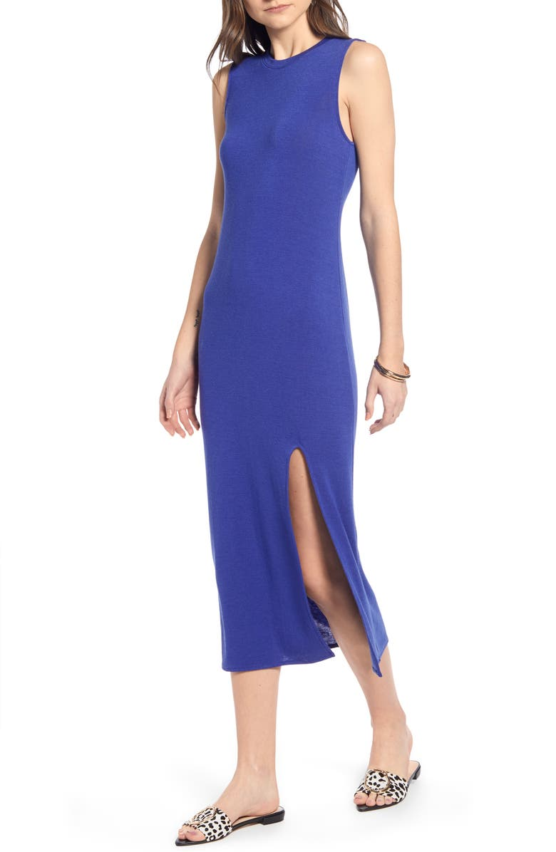 SOMETHING NAVY Easy Knit Midi Dress, Main, color, 420