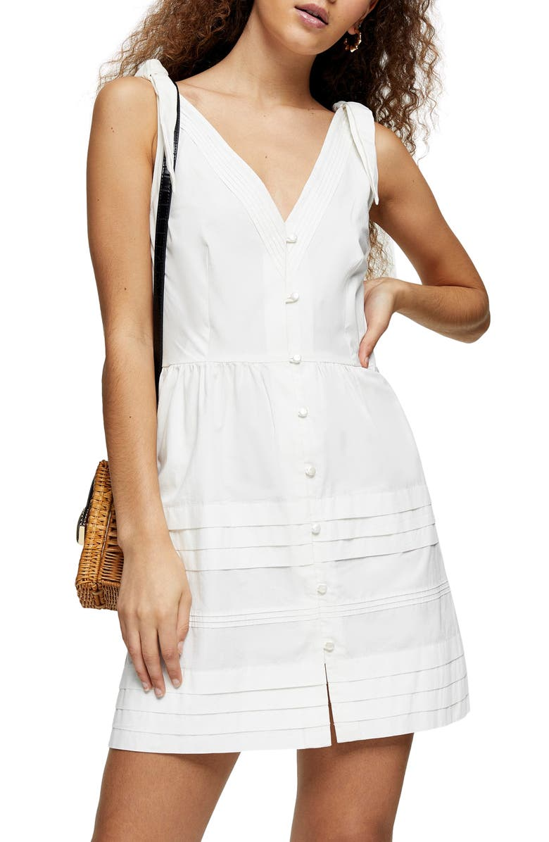 TOPSHOP Pintuck Sleeveless Button Minidress, Main, color, IVORY