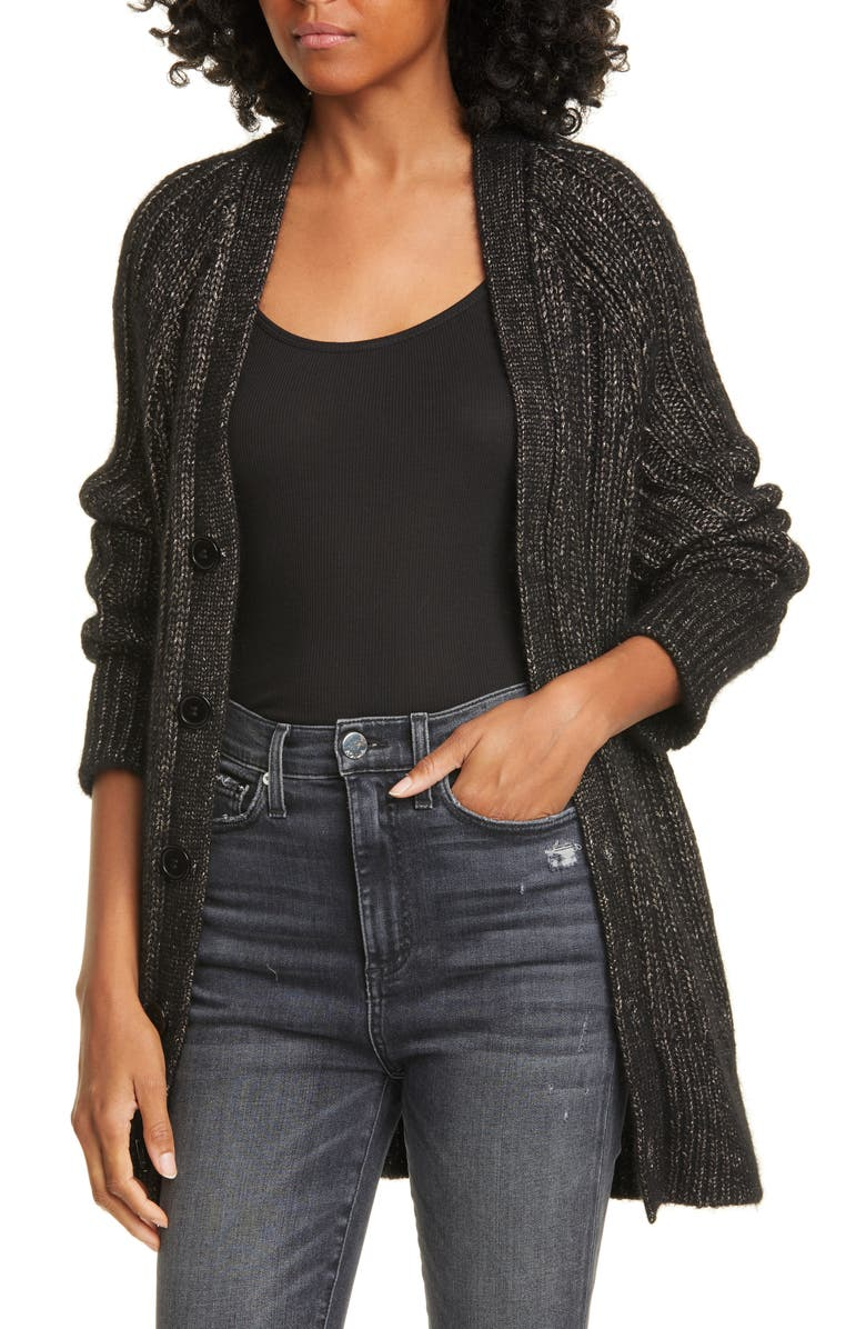 EQUIPMENT Jeannane Cable Knit Long Cardigan, Main, color, TRUE BLACK MULTI