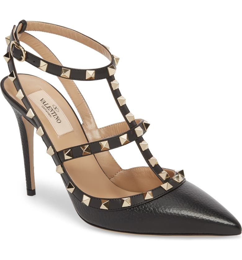VALENTINO GARAVANI Rockstud T-Strap Pump, Main, color, BLACK LEATHER