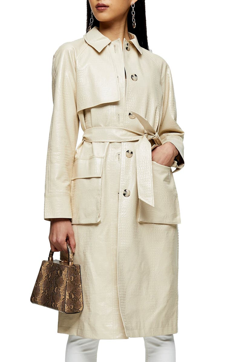 TOPSHOP Croc Embossed Faux Leather Trench Coat, Main, color, CREAM