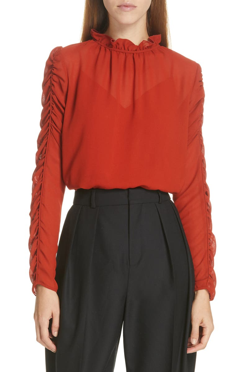 SEE BY CHLOÉ Ruched Sleeve Top, Main, color, 601