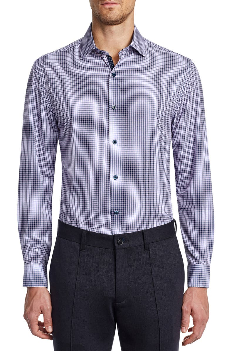 W.R.K Slim Fit Performance Stretch Check Dress Shirt, Main, color, NAVY/ PURPLE