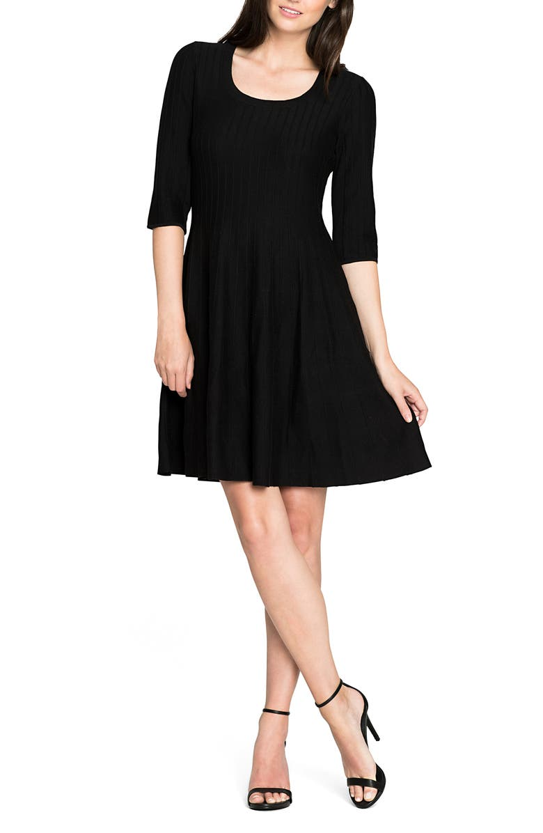NIC+ZOE 'Twirl' Elbow Sleeve Knit Fit & Flare Dress, Main, color, 004