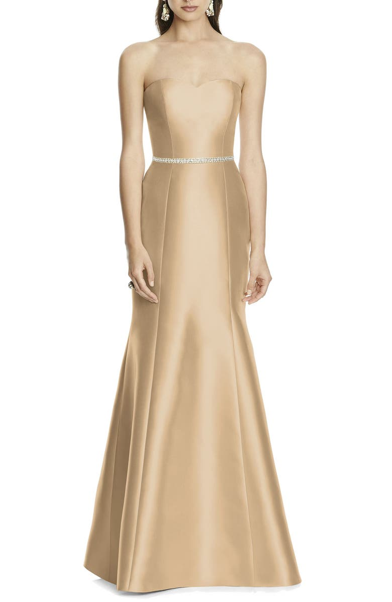 ALFRED SUNG Strapless Sateen Trumpet Gown, Main, color, GOLDEN