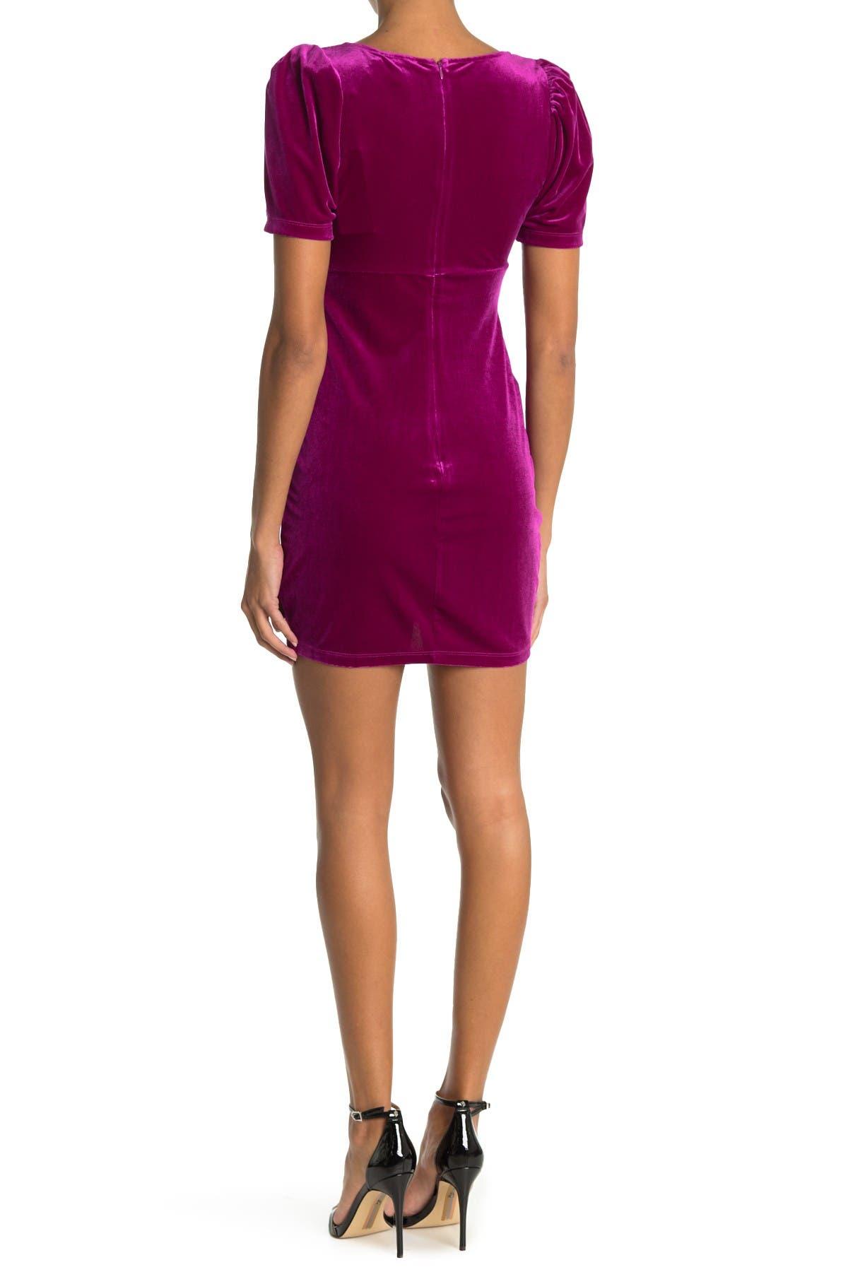 Lush Velvet Puff Sleeve Mini Dress