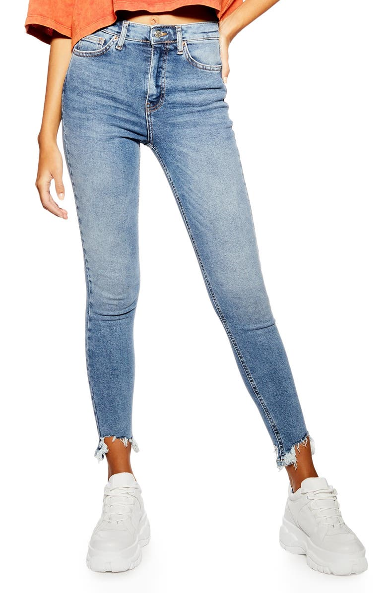 TOPSHOP Jamie Jagged Hem Jeans, Main, color, DENIM