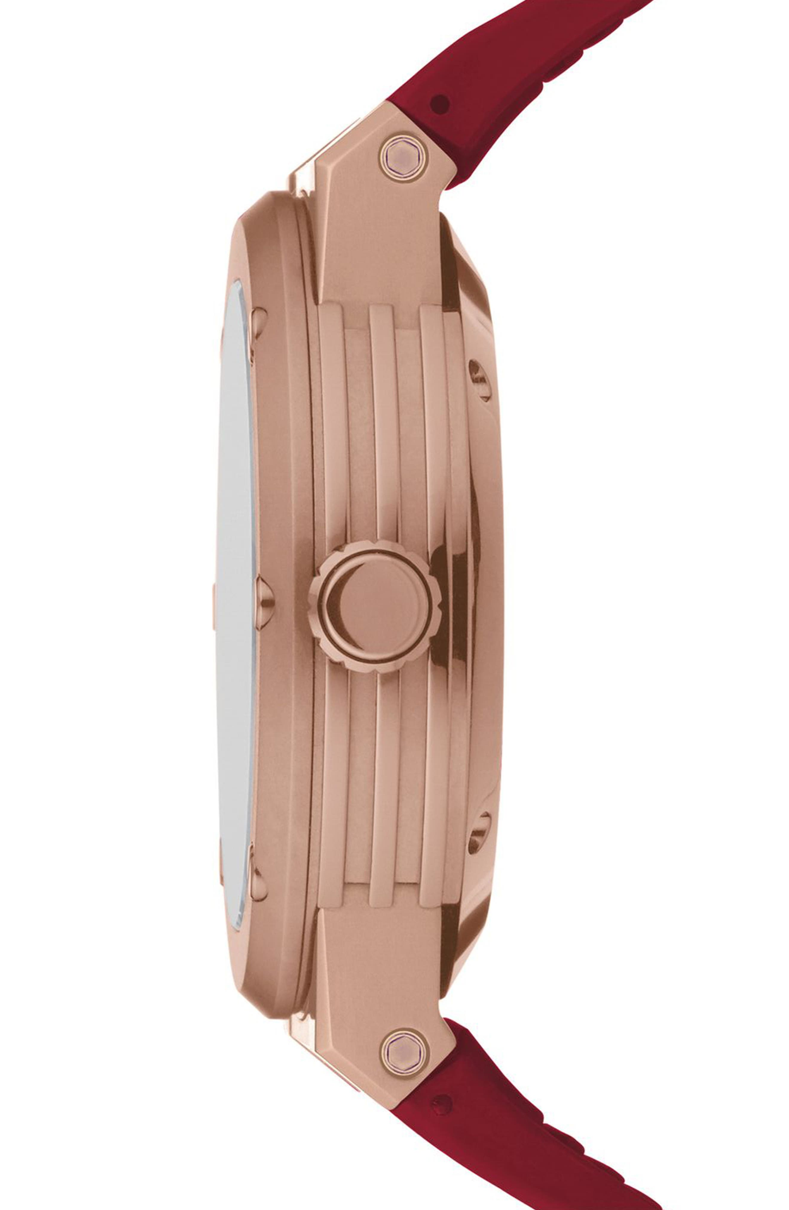 ,                             F-80 Motion Rubber Strap Smart Watch, 44mm,                             Alternate thumbnail 2, color,                             BURGUNDY/ WHITE MOP/ ROSE GOLD