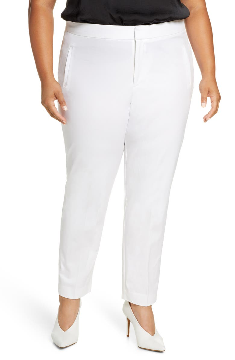 ELOQUII Premier Slim Fit Trousers, Main, color, SOFT WHITE