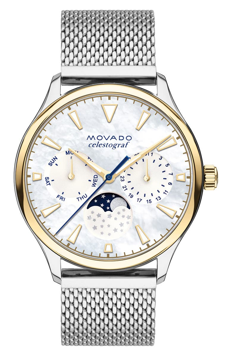 MOVADO Heritage Multifunction Mesh Band Watch, 36mm, Main, color, 040