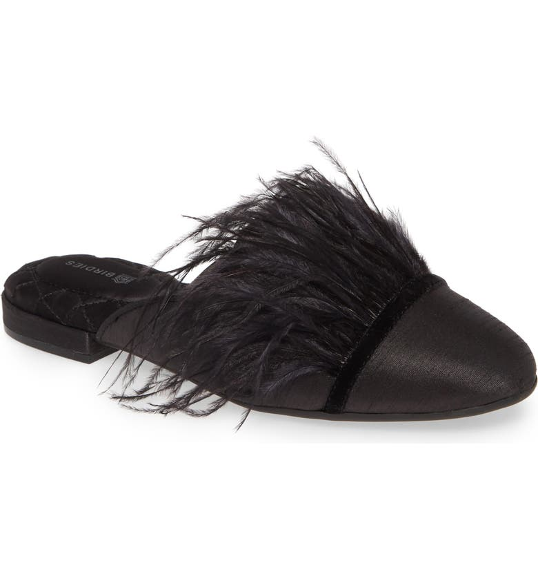 BIRDIES The Lovebird Feather Trim Mule, Main, color, BLACK SATIN