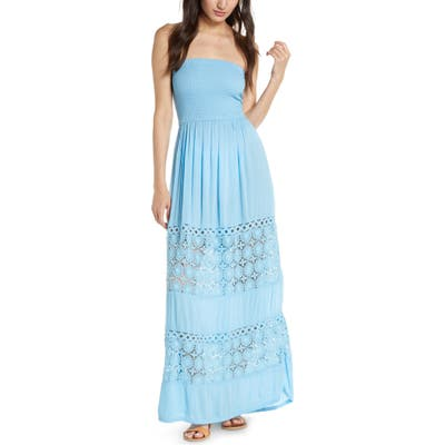 Chelsea28 Farrah Smocked Cover-Up Maxi Dress, Blue
