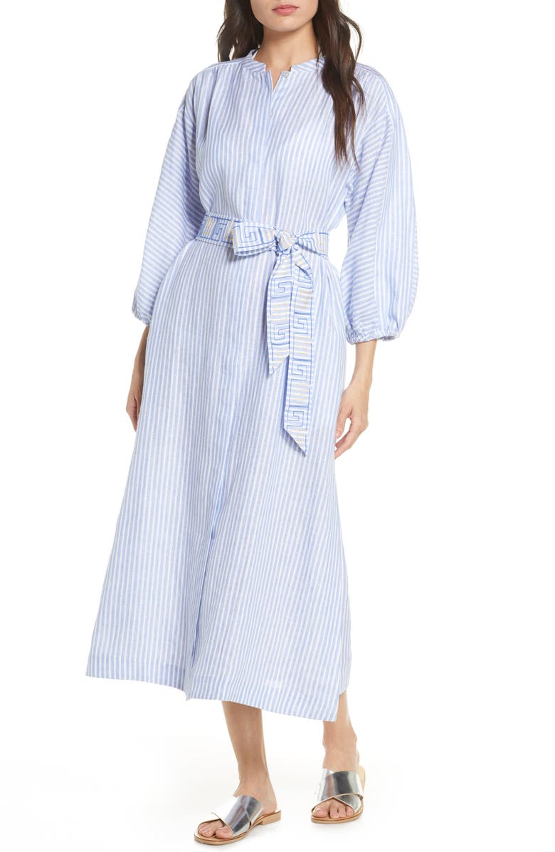 TORY BURCH Stripe Linen Midi Shirtdress, Main, color, 400