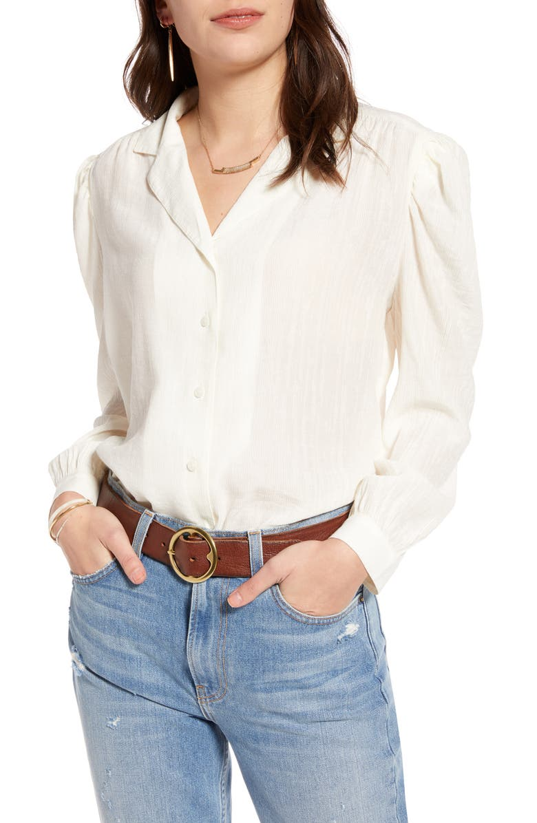 TREASURE & BOND Puff Sleeve Textured Blouse, Main, color, IVORY