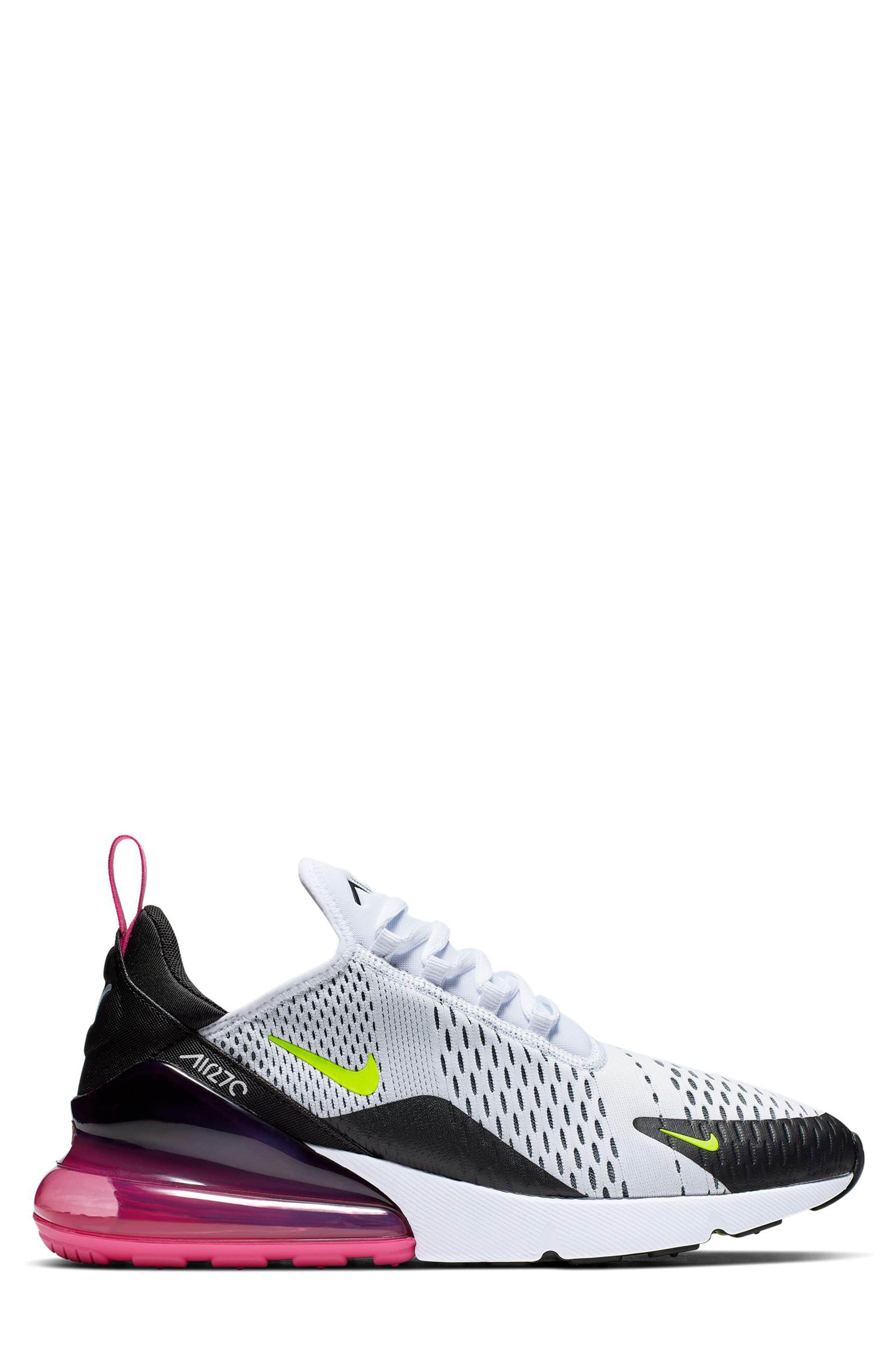 ,                             Air Max 270 Sneaker,                             Alternate thumbnail 2, color,                             WHITE/ VOLT/ BLACK/ FUCHSIA