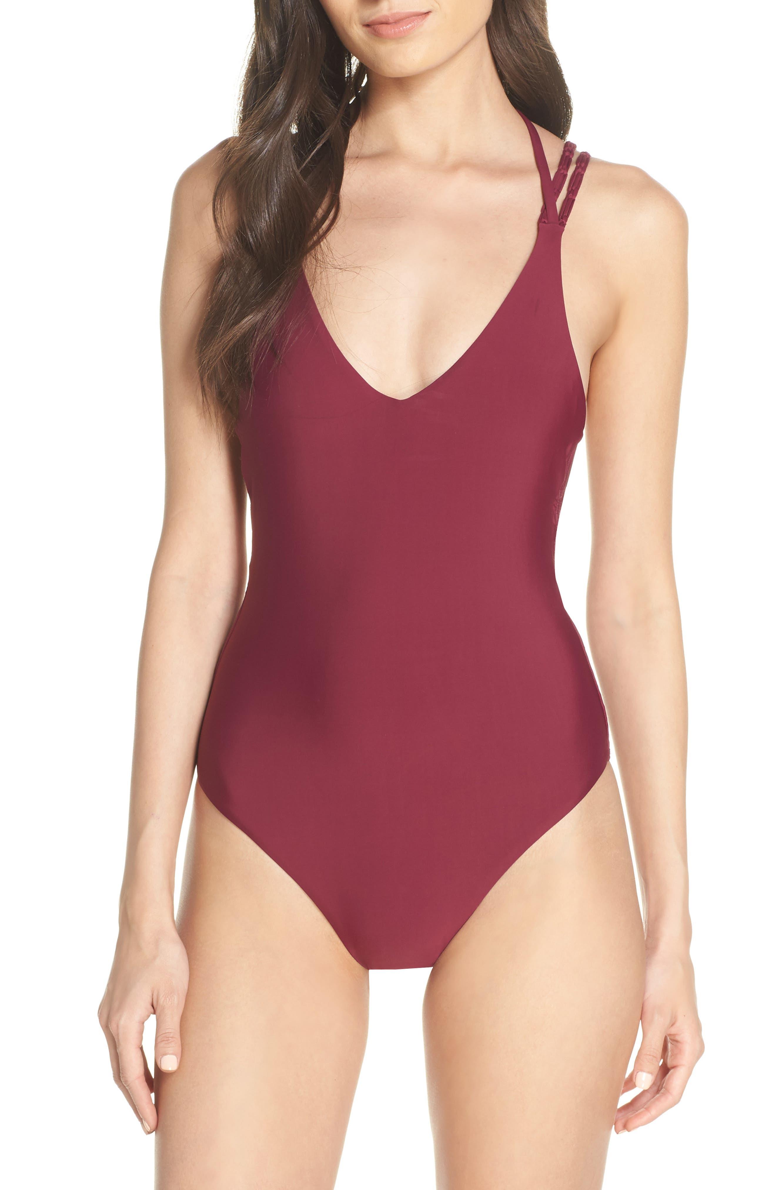 Pilyq Mia One-Piece Swimsuit, Burgundy