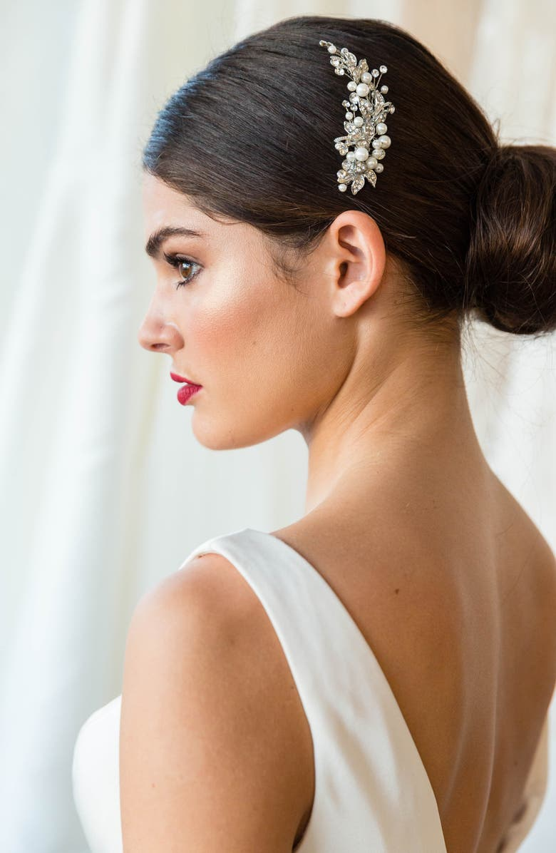 BRIDES & HAIRPINS 'Catherine' Jeweled Hair Comb, Main, color, ANTIQUE PLATINUM