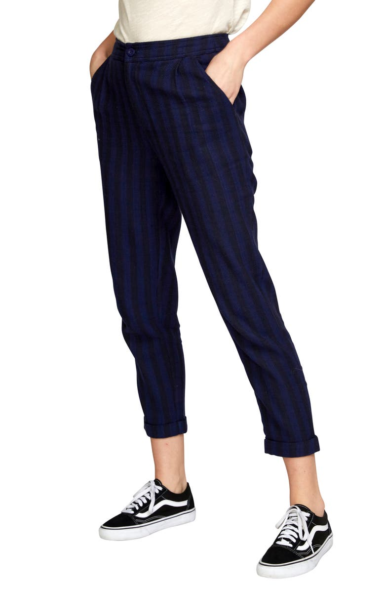 RVCA Scout Stripe Cotton Cuff Crop Pants, Main, color, 410