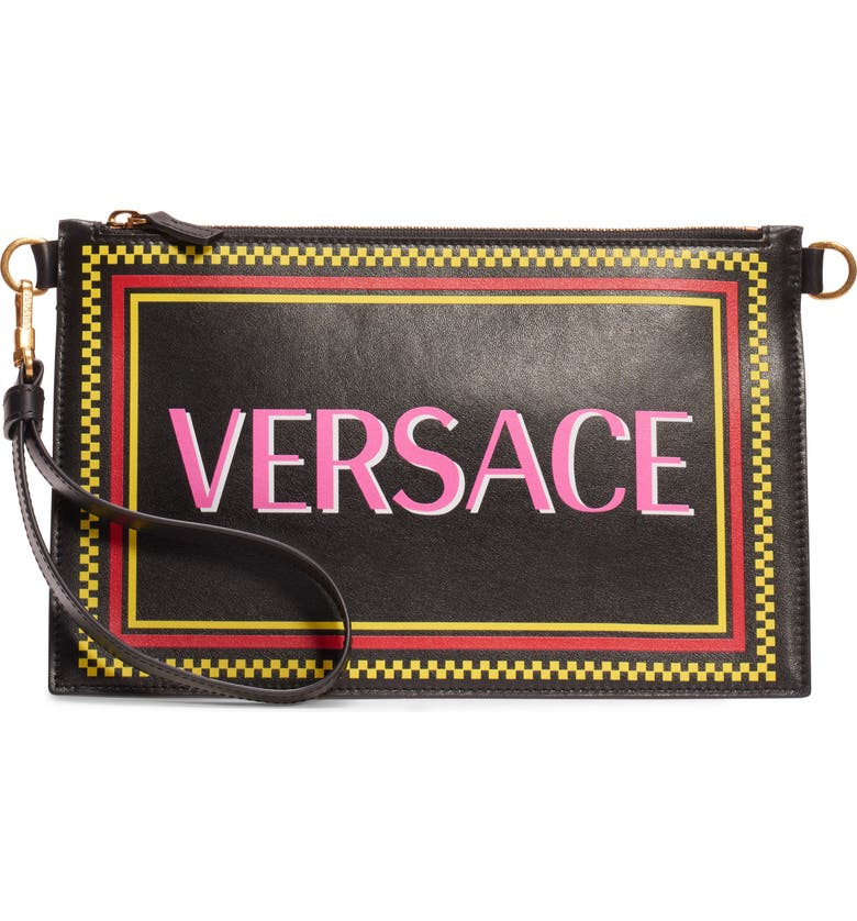 VERSACE 905 Vintage Logo Zip Pouch, Main, color, NERO MULTI