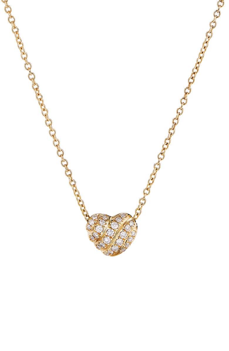 DAVID YURMAN Heart Pendant Necklace in 18K Gold with Pavé Diamonds, Main, color, DIAMOND