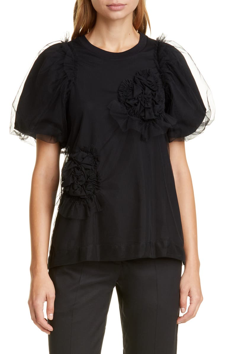 SIMONE ROCHA Ruched Flower Puff Sleeve Tee, Main, color, BLACK/ BLACK